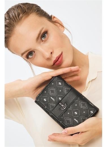 Deri Company Kadın Basic Cüzdan Monogram Desenli Şeritli Gümüş Siyah (8033G)  213001 Siyah